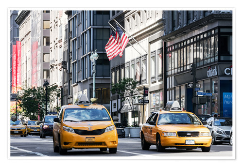 Poster New York Taxi.Matteo Colombo Yellow Cabs Taxis On The 5th Avenue New York City