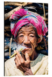 Aluminium print  Portrait of old woman smoking cigar, Myanmar, Asia - Matteo Colombo