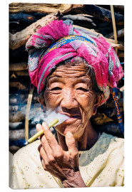 Canvas print  Portrait of old woman smoking cigar, Myanmar, Asia - Matteo Colombo