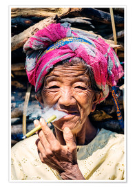 Premium poster  Portrait of old woman smoking cigar, Myanmar, Asia - Matteo Colombo