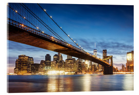 Acrylic glass  Brooklyn bridge and Manhattan at night, New York city, USA - Matteo Colombo
