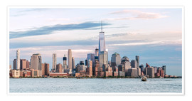 Premium poster Panoramic of lower Manhattan skyline at sunset, New York city, USA