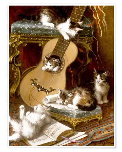 Premium poster Kittens at play with a guitar