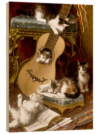 Wood print  Kittens at play with a guitar - Jules Le Roy