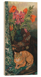 Wood print  Bouquet and cat - Suzanne Valadon