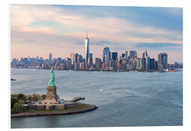 Foam board print  Aerial view of Statue of Liberty and World Trade Center at sunset, New York city, USA - Matteo Colombo