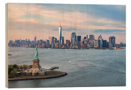 Wood  Aerial view of Statue of Liberty and World Trade Center at sunset, New York city, USA - Matteo Colombo