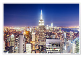 Premium poster Empire State Building and Manhattan skyline at night, New York city, USA