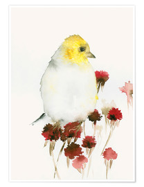 Poster Yellow Bird and Flowers