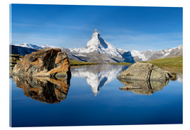 Acrylic print  Stellisee and Matterhorn in the Swiss Alps in summer - Jan Christopher Becke