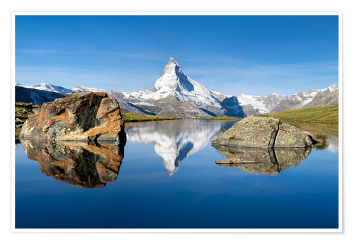 Premium poster Stellisee and Matterhorn in the Swiss Alps in summer