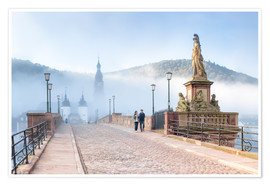 Premium poster  Karl Theodor Bridge and Old Town in Heidelberg, Germany - Jan Christopher Becke