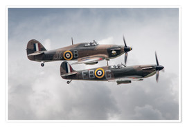 Premium poster  BBMF SPit and Hurry - airpowerart