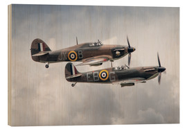 Wood print  BBMF SPit and Hurry - airpowerart