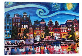 Acrylic glass  Starry Night over Amsterdam Canal with Van Gogh Inspirations - M. Bleichner