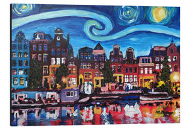 Alu-Dibond  Starry Night over Amsterdam Canal with Van Gogh Inspirations - M. Bleichner