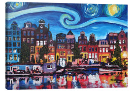 Canvas  Starry Night over Amsterdam Canal with Van Gogh Inspirations - M. Bleichner