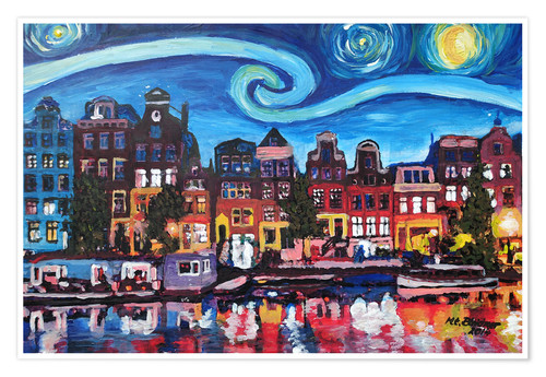 Premium poster Starry Night over Amsterdam Canal, Van Gogh Inspiration