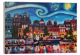 Wood print  Starry Night over Amsterdam Canal, Van Gogh Inspiration - M. Bleichner