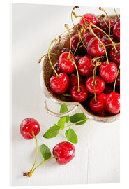 Acrylic print  A bowl of delicious cherries - Edith Albuschat