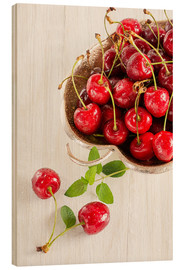 Wood print  A bowl of delicious cherries - Edith Albuschat