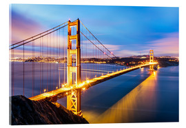 Acrylic print  Sunrise over Golden gate bridge and San Francisco bay, California, USA - Matteo Colombo