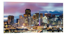 Foam board print  Panoramic of San Francisco downtown district skyline at night, California, USA - Matteo Colombo