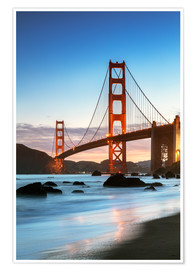 Poster  Golden gate bridge at dawn from Baker beach, San Francisco, California, USA - Matteo Colombo