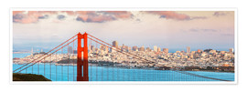 Premium poster  Panoramic sunset over Golden gate bridge and San Francisco bay, California, USA - Matteo Colombo