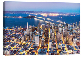 Canvas  Aerial view of San Francisco downtown with Bay bridge at night, California, USA - Matteo Colombo