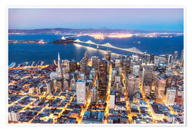 Premium poster Aerial view of San Francisco downtown with Bay bridge at night, California, USA