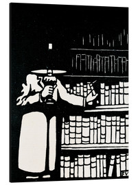 Aluminium print  A booklover holding a lamp as he takes a book from his library - Felix Edouard Vallotton