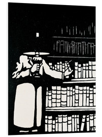 Foam board print  A booklover holding a lamp as he takes a book from his library - Felix Edouard Vallotton