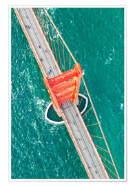 Premium poster  Aerial view of Golden gate bridge, San Francisco, California, USA - Matteo Colombo