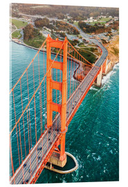 Acrylic print  Flying over Golden gate bridge, San Francisco, California, USA - Matteo Colombo