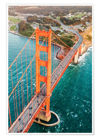 Poster  Flying over Golden gate bridge, San Francisco, California, USA - Matteo Colombo