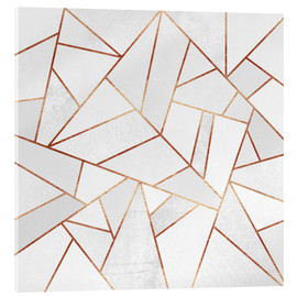 Acrylic glass  White Stone and copper Lines - Elisabeth Fredriksson