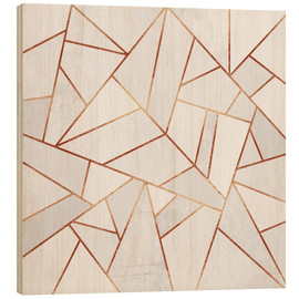 Wood  White Stone and copper Lines - Elisabeth Fredriksson