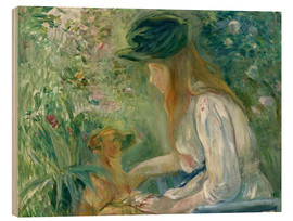 Wood print  Girl with Dog - Berthe Morisot
