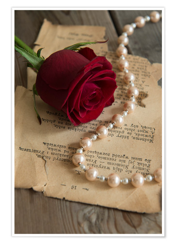 Premium poster Red rose, pearls and letter