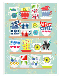 Premium poster Shelf of Scandinavian cups