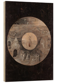 Wood print  The divine sun face with the passion of Christ - Hieronymus Bosch