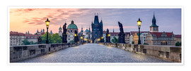 Premium poster Charles Bridge in Prague Panorama