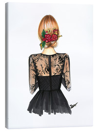 Canvas print  Black Lace and Rose - Rongrong DeVoe