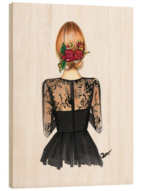 Wood print  Black Lace and Rose - Rongrong DeVoe