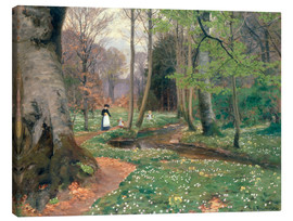 Canvas print  A Mother and her Children by a Stream - Hans Andersen Brendekilde