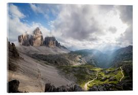 Acrylic glass  Dolomites-Three Peaks-Mountain Panorama - Sebastian Jakob