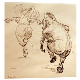 Acrylic glass  Two dancing elephant - Heinrich Kley