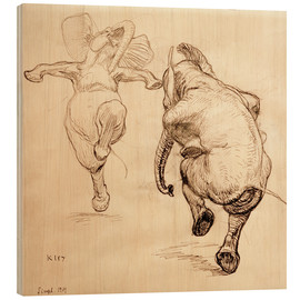 Wood print  Two dancing elephant - Heinrich Kley