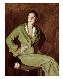 Premium poster  Woman in Green Dress - Jose Maria Rodriguez Acosta